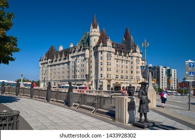 Ottawa, Ontario, Canada September 18, 2018: Fairmont Chateau Laurier Hotel with Blue Sky in Summer. Travel to Canada.