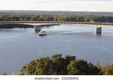 Ottawa Ontario Canada / September 8 2019. A photo I took of an Ottawa Cruise boat on the Ottawa River, Ottawa, Ontario, Canada.