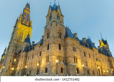 Ottawa, Ontario - May 1, 2019:  The historic West Block on Parliament Hill in Canada's capital city of Ottawa is the interim home of the seat of the federal government, the House of Commons.