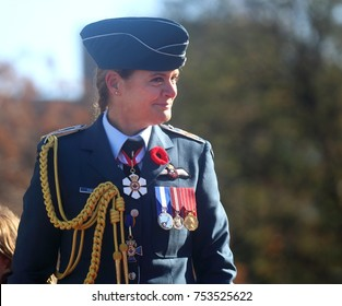 OTTAWA, ONTARIO - NOVEMBER 11, 2017: Gov. Gen. Julie Payette, a former Canadian astronaut, participated in Remembrance Day ceremonies at the National War Memorial.