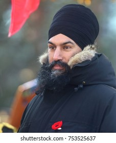 OTTAWA, ONTARIO - NOVEMBER 11, 2017: Jagmeet Singh, the leader of the New Democratic Party of Canada, attends the Remembrance Day ceremony at the National War Memorial.