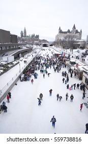 Ottawa, Ontaro, Canada - February 5, 2012: People Skating on Rideau Canal Skateway