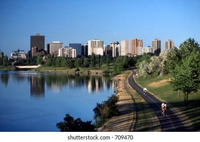 Ottawa Parkway and Ottawa skyline. Ottawa, Ontario. Canada.