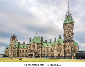 OTTAWA,CANADA - JUNE 23,2018 - View at the buildings of government at Parliament hill in Ottawa. Ottawa is the capital city of Canada.