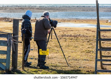 Ottenby, Sweden - April 6, 2018: Documentary of everyday life and environment. Two birdwatchers looking out over the beach with monocular on tripod. Electric fence in foreground.