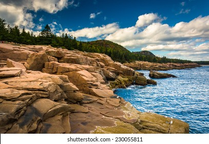 Otter Cliffs and the Atlantic Ocean in Acadia National Park, Maine.