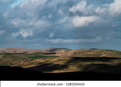 Otterburn, Northumberland, England, UK. 27th April 2019. Looking north east from Featherwood across artillery firing ranges on Otterburn Camp into Upper Coquetdale.