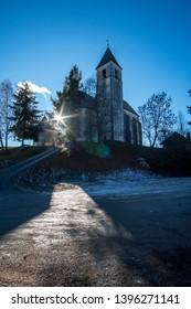 ottmanach,carinthia/austria-04 06 2019:church of magdalensberg in carinthia austria with beautiful view
