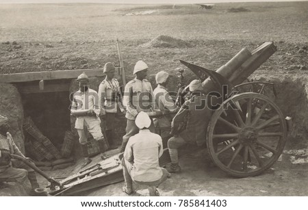 Ottoman artillery at Hareira in 1917 to defend against the British advance into southern Palestine. Turkish forces prevailed in the First and Second Battles of Gaza in March and April 1917