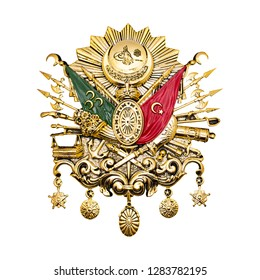 Ottoman Empire Emblem. Golden-leaf Ottoman Empire Emblem isolated on white background
