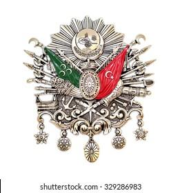 Ottoman Empire Emblem,  ( Old Turkish Symbol ) , isolated on white background.