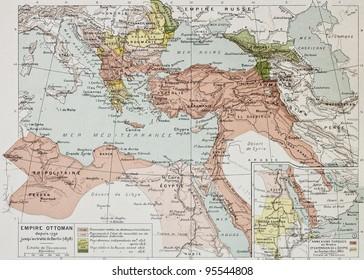 Ottoman Empire historical development old map (between 1792 and 1878). By Paul Vidal de Lablache, Atlas Classique, Librerie Colin, Paris, 1894