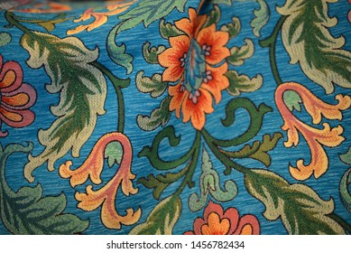 Ottoman Floral Blue Patterned Fabric