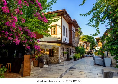 Ottoman houses on the main pedestrian street in Antalya Old Town Kaleici district, Turkey