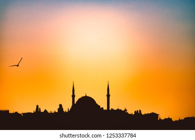 Ottoman imperial mosque silhouette at sunset in Istanbul, Turkey. Sky in background with city skyline.
