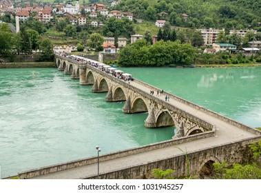 The Ottoman Mehmed Pasa Sokolovic Bridge in Visegrad, Bosnia Herzegovina.