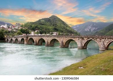 The Ottoman Mehmed Pasa Sokolovic Bridge in Visegrad, Bosnia Herzegovina