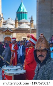 Ottoman military band also known as Mehteran or mehter playing music in front of the mausoleum of Mevlana Rumi in Konya in Turkey 25 September 2018