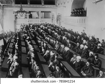Ottoman Parliament in session in Istanbul, c. 1908-1912. It was the first meeting since Sultan Abdulhamid II abolished the legislature in 1878. 1908 began the Ottoman Empires 2nd constitutional period