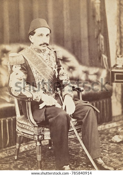 Ottoman Prince Abdul Hamid, traveled to Europe with his uncle, Sultan Abdulaziz, in 1867. This portrait was taken at Balmoral Palace by the studio photography company of William and Daniel Downey