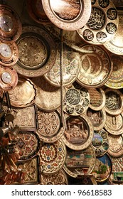 The Ottoman style copper decorative object in the Grand Bazaar, Istanbul.