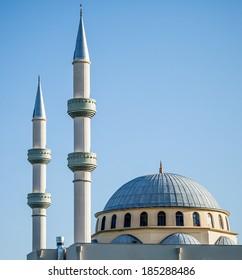 The Ottoman style dome and minarets of Auburn Gallipoli Mosque in Auburn, Sydney, Australia