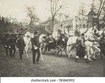 Ottoman Sultan Mehmed V in a carriage followed by the Young Turk Enver Pasha on white horse. Mehmed V, who reigned from Apr. 27, 1909 to July 3, 1918, was installed when the young Turks deposed his th