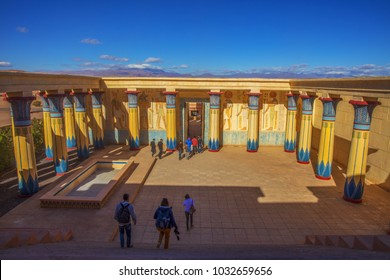 OUARZAZATE, MOROCCO - DECEMBER 27, 2017: Ouarzazate Atlas Film Studios in Morocco. Moroccan Atlas Studios is one of the largest movie studios in the world.