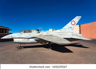Ouarzazate, Morocco - December 27, 2017: Airplane in Atlas Movie Studios sets where movies as Ben Hur, Jewel of the Nile and Lawrence of Arabia were produced.
