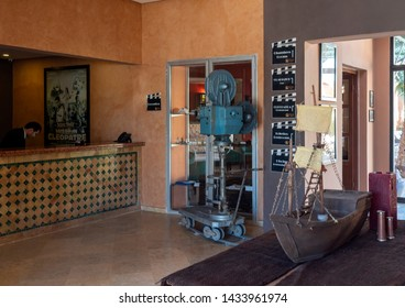 Ouarzazate, Morocco - December 27, 2017: Atlas Movie Studios entrance hall. Movies as Ben Hur, Jewel of the Nile and Lawrence of Arabia were here produced.