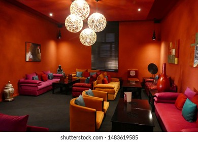 OUARZAZATE, MOROCCO - FEB 17, 2019 - Sitting area in the lounge of the Berbere Palace, Ouarzazate,  Morocco, Africa