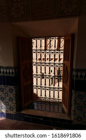 OUARZAZATE, MOROCCO - FEB 17, 2019 - Iron grill on window of the Kasbah Taourirt, Ouarzazate,  Morocco, Africa