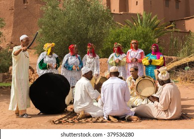 Ouarzazate, Morocco - July 27, 2015 : Unidentified Berber people in wedding ceremony with their traditional dress, they dance with their authentic music.