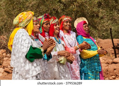 Ouarzazate, Morocco - July 27, 2015 : Unidentified Berber people in wedding ceremony with their traditional dress, women dance with their authentic music.