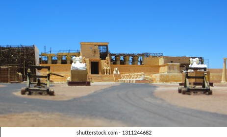 """Ouarzazate / Morocco - May 28, 2016: Atlas Film Studios is the largest film studio in the world. Cleopatra palace set used in French movie """"Asterix & Obelix: Mission Cleopatra""""."""