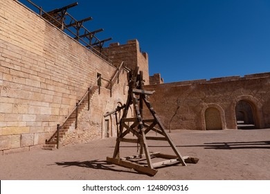 Ouarzazate, Morocco - October 20, 2018: Fake castle built as a film set for such films as Kingdom of Heaven and the Game of Thrones at Ecla Film Studio