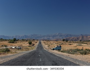 OUARZAZATE, MOROCCO - OCTOBER 29, 2015:  The main road between Marrakesh and Ouarzazate.