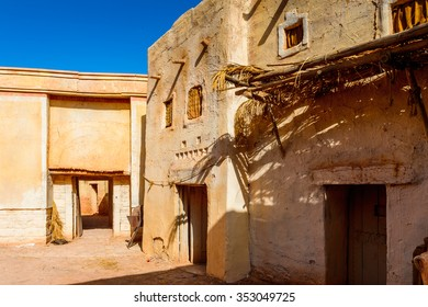 OUARZAZATE, MOROCCO - SEP 6, 2015: Village decoration at the Atlas Corporation Studios, one of the world's largest film studios