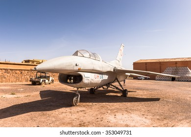 OUARZAZATE, MOROCCO - SEP 6, 2015: Plane in Atlas Corporation Studios, one of the world's largest film studios