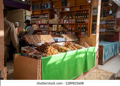 Ouarzazate, Morocco - September 18 2018 A market stand which is selling dates, Morocco
