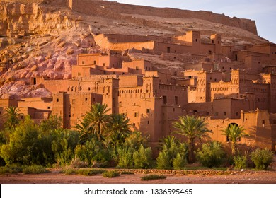 OUARZAZATE PROVINCE, MOROCCO - OCTOBER 3, 2009: Ksar at Ait Benhaddou. This fortified mudbrick kasbah is a UNESCO World Heritage Site.