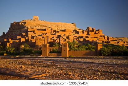 OUARZAZATE PROVINCE, MOROCCO - OCTOBER 4, 2009: Ksar at Ait Benhaddou. This fortified mudbrick kasbah is a UNESCO World Heritage Site.