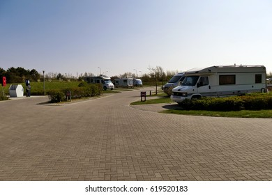 Ouddorp aan Zee, The Netherlands - April 9, 2017: Drive-In Camperpark campground Klepperstee scenery, freedom camping with camper motor homes