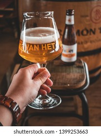 Ouddorp / The Netherlands - March 11 2019: Drinking crafted Dutch beer made in Zeeland at beach restaurant Brouw