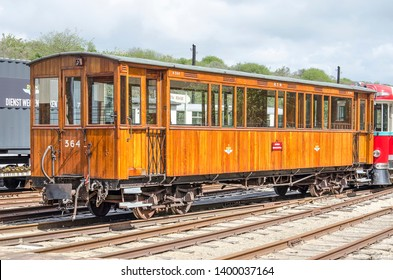 Ouddorp, The Netherlands, May 4, 2019: Classic wooden tramway carriage at the main station of the historic RTM museum line