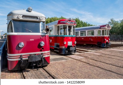 Ouddorp,Holland,30-may-2019:trains from the museum performs a tram service on the Punt van Goeree - Port Zelande route on the Brouwersdam with historical equipment from the former RTM