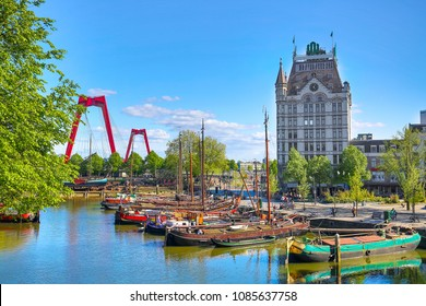 Oude Haven harbor, Willemsbrug bridge, old ship yard dock, Ships, Openlucht Binnenvaart Museum, Haringvliet and the during sunny summer day in Rotterdam, South Holland, Netherlands.