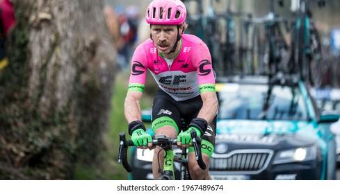 Oude Kwaremont, Belgium - April 1, 2018: Team EF rider Mitchell Docker (AUS) racing at the Ronde van Vlaanderen UCI men elite road racing event