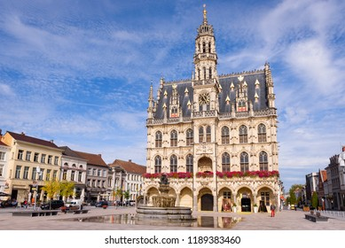 OUDENAARDE, BELGIUM. September 16, 2018: The central square or Oudenaarde Markt with beautiful Town hall and MOU museum in Oudenaarde, Vlaamse Ardennen, Belgium.