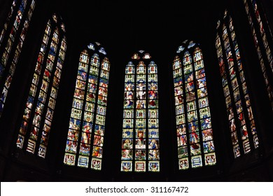 OUDENAARDE, BELGIUM-JUNY 23, 2015: Stained glass window in church Saint Walburga, known from 11 century